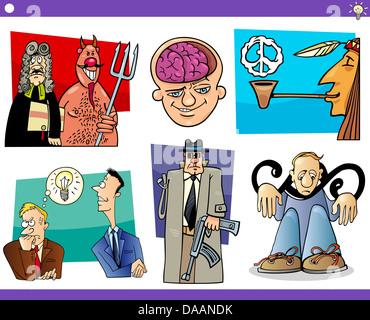 Ilustración de historieta humorística conceptos o ideas y metáforas con divertidos personajes