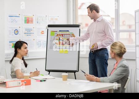 Los compañeros de negocio mirando el diagrama, en la sala de reuniones Foto de stock