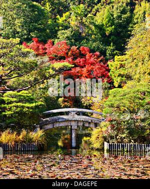 Puente de serena y el estanque de un jardín japonés en Kioto.