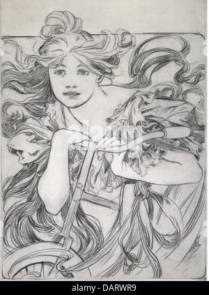 Bellas artes, Mucha, Alfons (1860 - 1939), gráfico, 'Ciclista', Boceto, dibujo, 1902, colección privada, bicicleta, personas