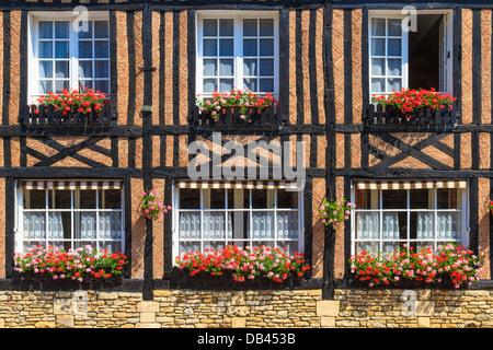 Beuvron-en-Auge, la fachada de la casa de Normandía