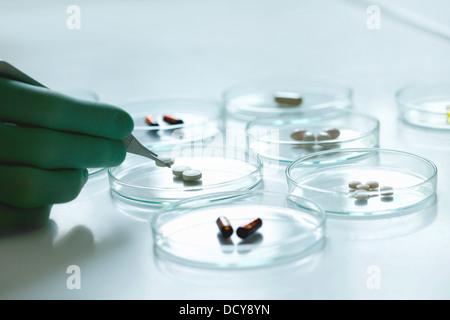 Scientist celebración píldora con pinzas sobre placa de Petri