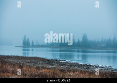 Islas en la noche, la niebla en el lago; Astotin Edmonton, Alberta, Canadá Foto de stock