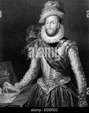 Walter Raleigh (1552-1618) sobre el grabado desde 1829. Aristócrata inglés, escritor, poeta, soldado, cortesano y explorador. Foto de stock