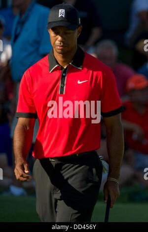 Jersey City, Nueva Jersey, EE.UU.. 25 Aug, 2013. Agosto 25, 2013: Tiger Woods parece decepcionado durante la ronda final del campeonato Fed Ex Barclays en Liberty National Golf Course en Jersey City, NJ. Kostas Lymperopoulos/CSM/Alamy Live News