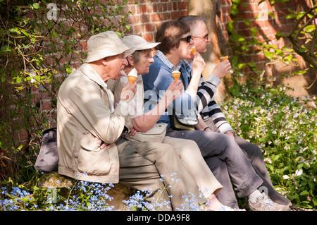 Cerca de las 2 parejas o 4 adultos sentados en sol de verano en un banco en el hermoso jardín, todas cogidas y comer helados - North Yorkshire, Inglaterra, Reino Unido. Foto de stock