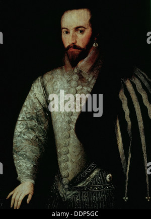 Anónimo - retrato de Sir Walter Raleigh Foto de stock