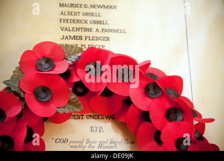 Primera Guerra Mundial memorial con amapolas, Suffolk, Reino Unido