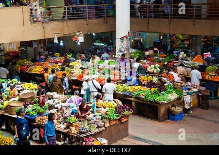Un alto ángulo de visualización de un mercado de verduras, el Mercado Municipal, Panaji, norte de Goa, Goa, India