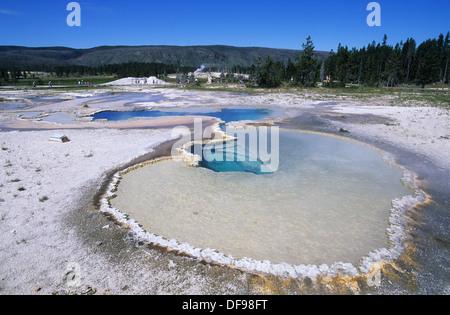 Elk265-1264 de Wyoming, el Parque Nacional de Yellowstone, la Cuenca del Géiser Superior, géiser, Colina, doblete Piscina