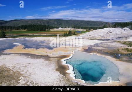 Elk265-1265 de Wyoming, el Parque Nacional de Yellowstone, la Cuenca del Géiser Superior, géiser, Colina, doblete Piscina