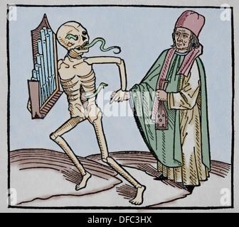 Período Medieval. Europa.14to siglo. La danza de la muerte. Alegoría de la universalidad de la muerte. Grabado en color.