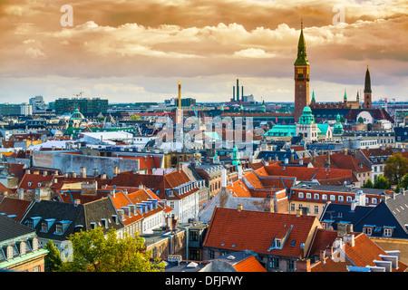 Copenhague, Dinamarca vista aérea de la ciudad.