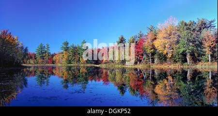 Una vista del Estanque de Adams en el estado de Maine durante el otoño. Foto de stock