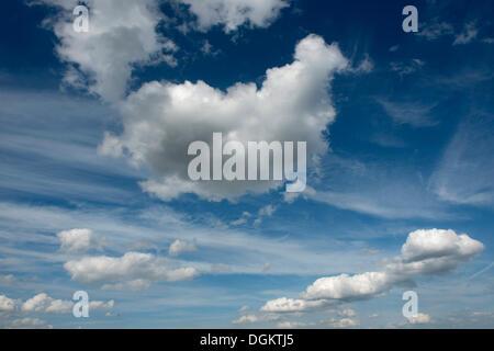Las nubes cúmulos y nubes cirros en el cielo