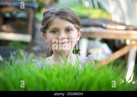 En la granja. Una niña sonriente permanente por una banqueta glasshouse mirando por encima de los brotes de plantas que crecen en las bandejas.