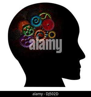 Rusty coloridos engranajes metálicos en cabeza humana silueta Grunge Texture aislado sobre fondo blanco.