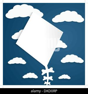 Kitesurf en un fondo azul con nubes