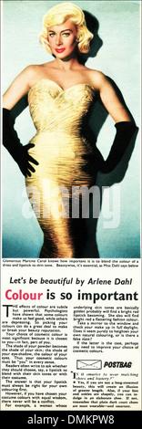 La publicidad de 1950. Revista original vintage Anuncio Anuncio para consejos de belleza por la actriz Arlene Dahl