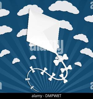 Kitesurf en un fondo azul con nubes y rayos