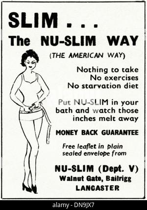 La publicidad de 1950. La moda femenina original vintage magazine anuncio para NU-SLIM lady's Productos adelgazantes