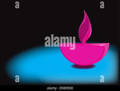 Diwali lámpara de aceite aislado sobre fondo azul.