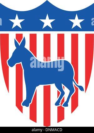 Ilustración de una mascota burro demócrata de el gran viejo partido republicano democrático con un escudo de estrellas y rayas.
