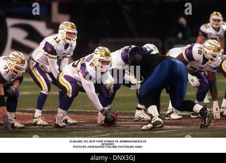 Febrero 16, 2001 - 31425JBB: NUEVA YORK XFL HITMAN VS. Tornillos de Birmingham.16/02/2001. JOHN BARRETT/ 2001(Crédito Imagen: © Globe Photos/ZUMAPRESS.com)
