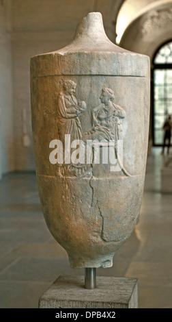 Monumento de Archippe grave e forma de un lekytos 390 BC asentada la mujer muerta, una mujer (Xeno) con niño Grecia griego