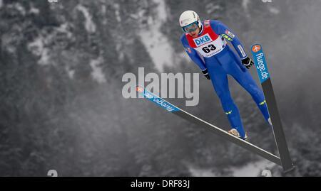 Oberstdorf, Alemania. 24 ene, 2014. La francesa Jason Lamy Chappuis en acción durante una sesión de entrenamiento de la Copa del Mundo de combinada nórdica en Oberstdorf, Alemania, el 24 de enero de 2014. Foto: Sven HOPPE/dpa/Alamy Live News