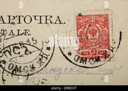 Rusia 3 kopecks estampilla postal con un águila bicéfala. Postal de la antigua Rusia.