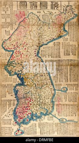 Haejwa chondo, mapa de la Península de Corea 1822 mostrando las ocho provincias de Corea.