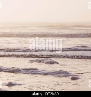 Seascape al atardecer, las olas que rompen en la orilla de la zona de mareas en las costas del Parque Nacional Olímpico Foto de stock