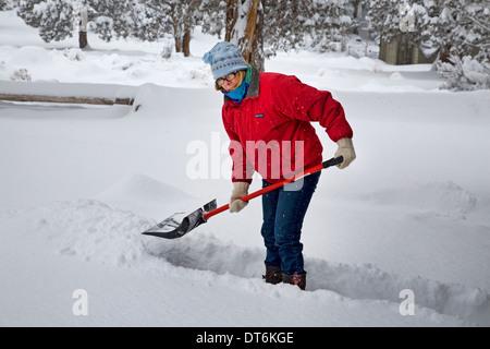 Una Mujer Apalear La Nieve Desde Su Terraza O Porche En Una