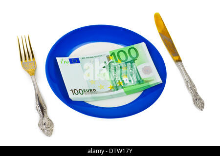 Dinero en placa Foto de stock