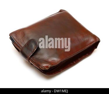 Monedero de cuero marrón antiguo