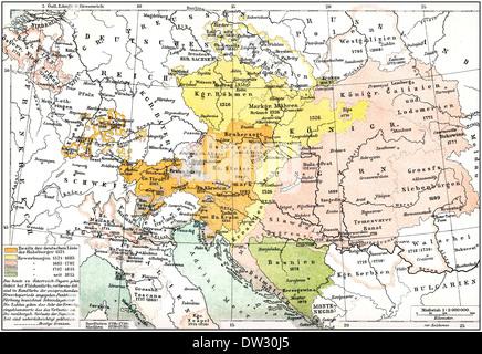Mapa Histórico de Austria-Hungría, la Monarquía Dual o kuk monarquía, para el período comprendido entre 1867 y 1918, del siglo XIX,