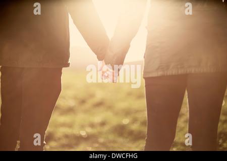Sección intermedia de pareja, tomados de las manos