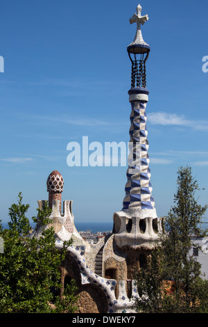El Parc Güell de Gaudí en Barcelona en la región catalana de España