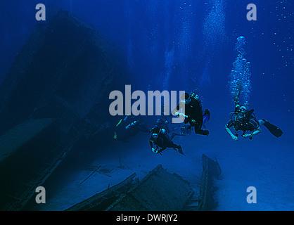 Los submarinistas exploran el naufragio El Aguila en Roatán, Honduras. El buque se hundió en 110 pies de agua en 1997.