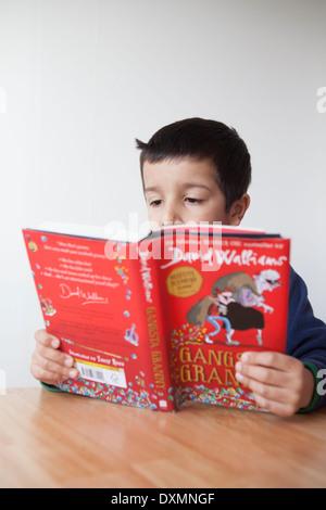 El niño lee un libro de cuentos