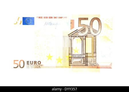 Blanquea billete de 50 euros Foto de stock