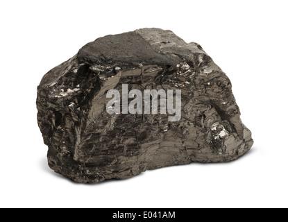 Un pedazo de carbón negro aislado sobre fondo blanco. Foto de stock