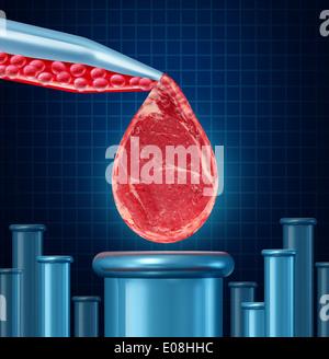 Concepto de carne cultivada de laboratorio como equipamiento de laboratorio desarrollar carne artificial mediante el cultivo de tejidos animales en vtro resultando en la crueldad gratuita protien sintético que es comestible como un símbolo de la futura tecnología de ingeniería de alimentos.