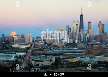 Chicago, Illinois, Estados Unidos de América, la torre Hancock y del horizonte de la ciudad