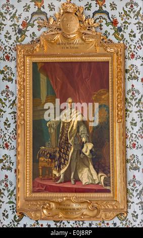Luis XV, rey de Francia. Pintura en salón dorado en el Palacio San Anton por Jacob van Loo (1614 - 1670)
