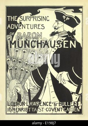 """William Strang (1859-1921) Ilustración de 'las sorprendentes aventuras del barón de Munchausen"""" por Rudoph Raspe publicada en 1895."""