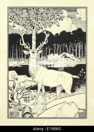 """J. B. Clark ilustración de 'las sorprendentes aventuras del barón de Munchausen"""" por Rudoph Raspe publicada en 1895. Stag"""