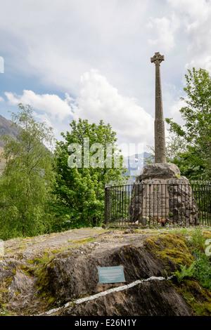 Monumento a la masacre de Glen Coe del MacDonalds clan en 1692. Glencoe, Highland, Escocia, Reino Unido, Gran Bretaña