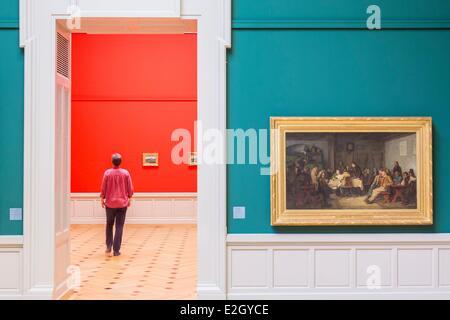 Suiza Ginebra museo de arte e historia, inaugurado en 1910 pintado por el artista suizo Samuel Anker Albrecht titulado consejo común (1865)